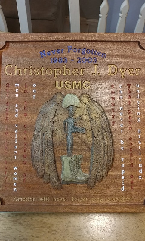 Memorial Plaque to Honor one of our nations Fallen.  Semper Fi LCPL Dyer!!!
